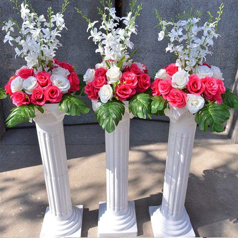 Livraison gratuite colonne romaine blanche avec des ensembles de fleurs de Rose artificielle allée de mariage coureur stade décoration piliers accessoires fournitures