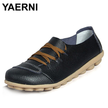 YAERNI   2017 Fashion Casual Flat Shoes Lace-up Peas Driving Shoes Breathable Soft Leather Shoes Women Loafers