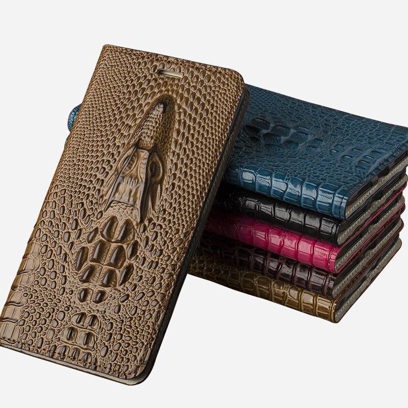 Genuine Leather Case For Nubia m2 lite Flip Case Cover For ZTE Axon Mini Luxury Dragon head Stand Card Holder Slot Bag