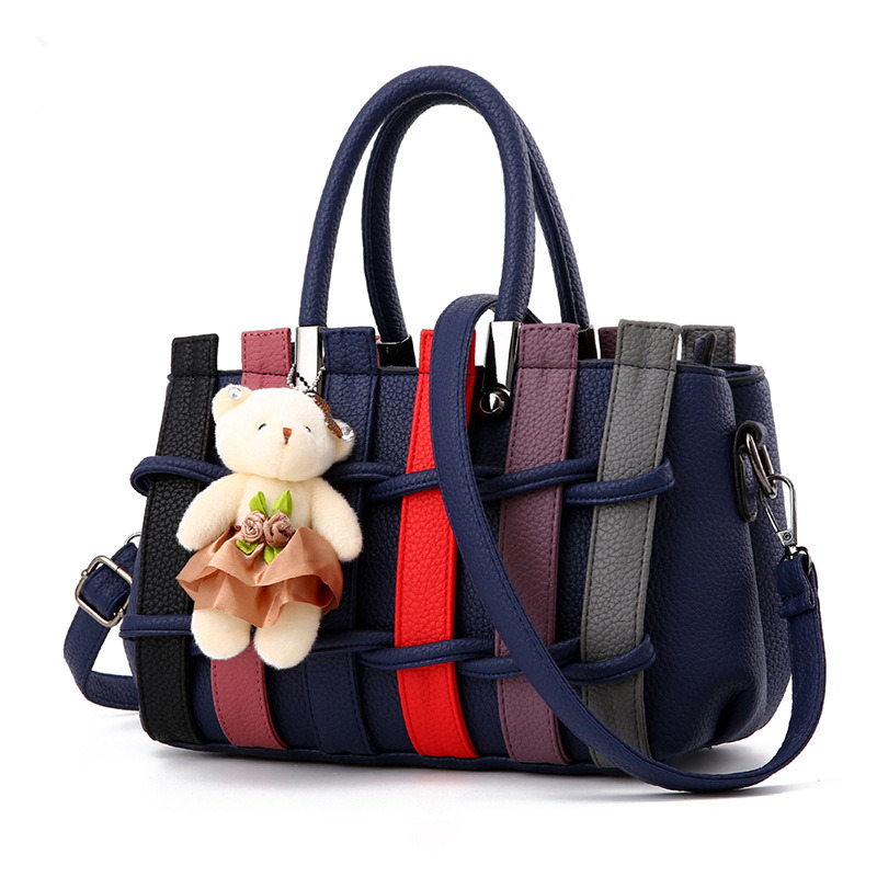 Fashion Casual PU Women Handbag Dark Blue Office Lady Shoulder Bag Crossbody Messenger Weave Decoration fashion soft pu office lady handbag shoulder bag women tote bucket bag crossbody messenger zipper