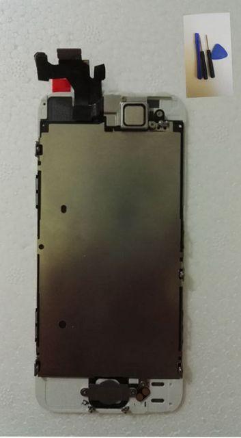 Toque digitador de vidro + display lcd + câmera frontal flex cable + home button substituição tela para iphone 5 5g pantalla preto/branco