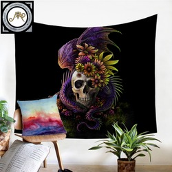 Flowery Skull by SunimaArt Tapestry Purple Flower Wall Hanging Floral Sheets Decorative Tapestry Mystery Art Beach Mat 130x150cm