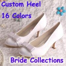 Princess Style Satin Women Wedding Shoes White Butterfly Medium Heel 6.5CM
