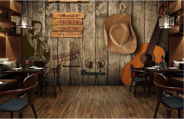 Custom 3D Bar KTV retro wooden wall murals papel de paredehotel