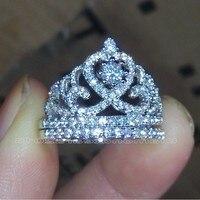 Choucong бренд Размеры 5–10 Jewelry AAAAA Циркон CZ 925 серебро Обручение Свадебная Корона кольцо комплект для мужчин и женщин