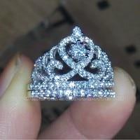 Choucong Merk Maat 5-10 Sieraden AAAAA zirkoon cz 925 sterling zilveren Engagement wedding crown Ring set voor vrouwen mannen