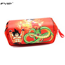 Cosmetic Cases Anime Cartoon Dragon Ball Z/ Naruto / One Piece Students Pencil Case Makeup Bag With Soft Handle(China)