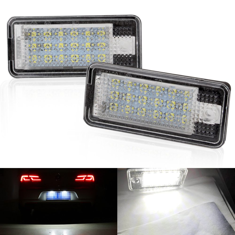 2Pcs Car-styling Car LED License Plate Lights 12V For <font><b>Audi</b></font> A4 b6 8E A3 S3 A6 c6 Q7 A4 b7 <font><b>A8</b></font> S8 S6 RS4 RS6 Accessories image