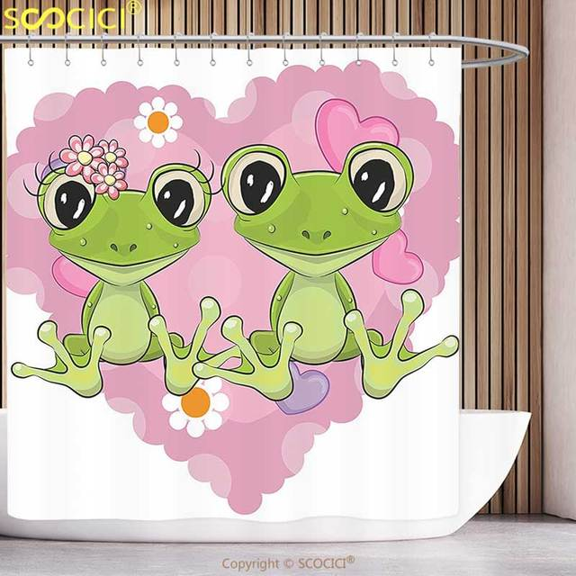 Funky Shower Curtain Love Decor Two Cartoon Frogs On A Background Of Heart In Happiness Flowers Bathroom Set