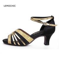 LEMOCHIC newest comfortable performance kitten heels female models double steps cha cha pole jazz tango belly samba dance shoes