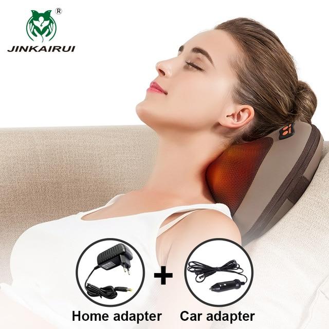 JinKaiRui Infrared Heating Electric Kneading Shiatsu Vibrator Neck Shoulder Back Body Massager Pillow Car/Chair/Home Massagem