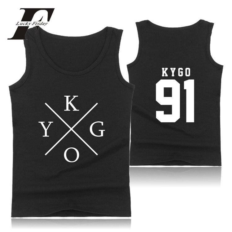 LUCKYFRIDAYF 2017 DJ Kygo Logo Summer Men Vest Tank Tops Men Bodybuilding Fitness Workout Casual Men's Tops Streetwear Plus Size