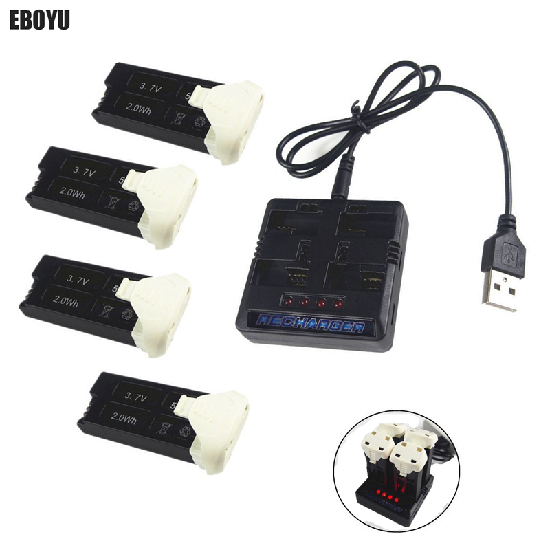 EBOYU 4 Pcs 3.7 V 520 mAh Lipo Batterie + 1 À 4 Équilibre chargeur pour Hubsan X4 H107C Plus H107C + H107D plus H107D + RC Drone