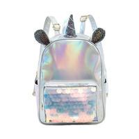 New 2019 Laser Leather Mini Backpack For Women Sequins Unicorn Mochila Girls Travel Back Bags Silver Fashion School Bagpack