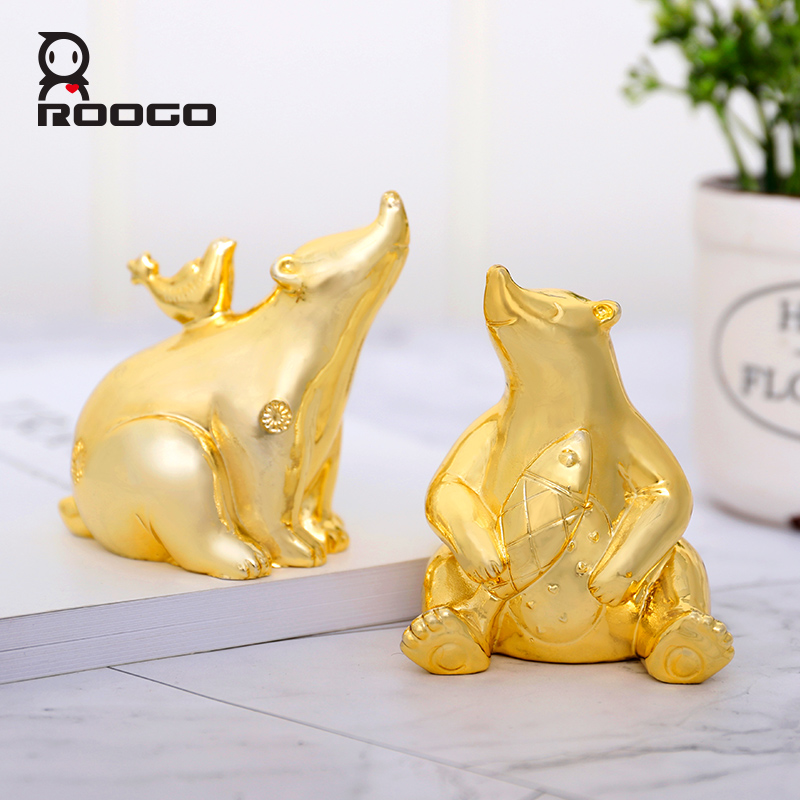 Enjoyable Us 13 4 30 Off Roogo Home Decoration Accessories Golden Polar Bear Ornaments Car Table Decor Figurines Small Statue Lovely Garden Decorations In Download Free Architecture Designs Scobabritishbridgeorg