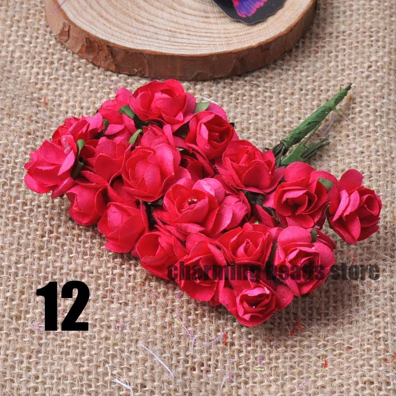 24 шт. 15 мм мини искусственный Бумага розы букет Свадебный декор Скрапбукинг DIY cp0022x - Цвет: 12