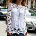 Blusas Femininas 2016 New Women Blouses White Chiffon Lace Blouse Plus Size Casual Ladies Blouse Brand Long Sleeve Shirt Women