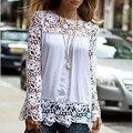 Blusas Femininas 2016 Novas Mulheres Blusas de Chiffon Branco Blusa de Renda Plus Size Senhoras Casuais Blusa Da Marca Camisa de Manga Longa Mulheres