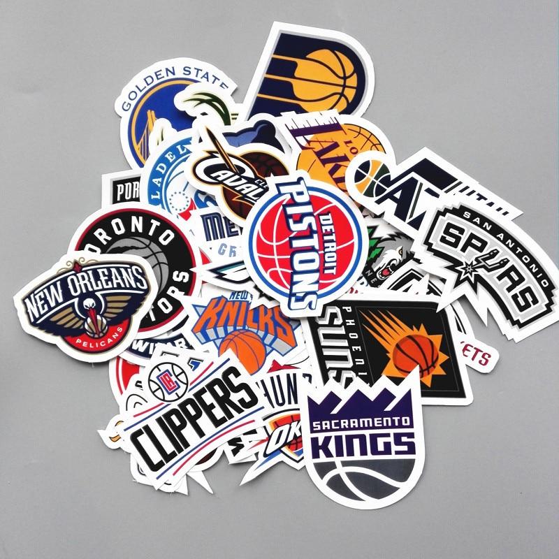 30 pcs lot pvc tahan air basket klub logo sticker untuk laptop batang skateboard mainan stiker kulkas telepon decal mobil styling di stiker dari mainan