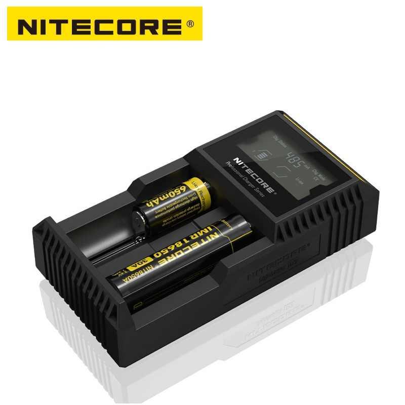 Nitecore D2 Зарядное устройство с ЖК-дисплей Дисплей универсальное автомобильное зарядное устройство с Батарея Зарядное устройство для 18650 аккумуляторов IMR/li-ion/LiFePO4/никель-металл-гидридный/никель-кадмиевый