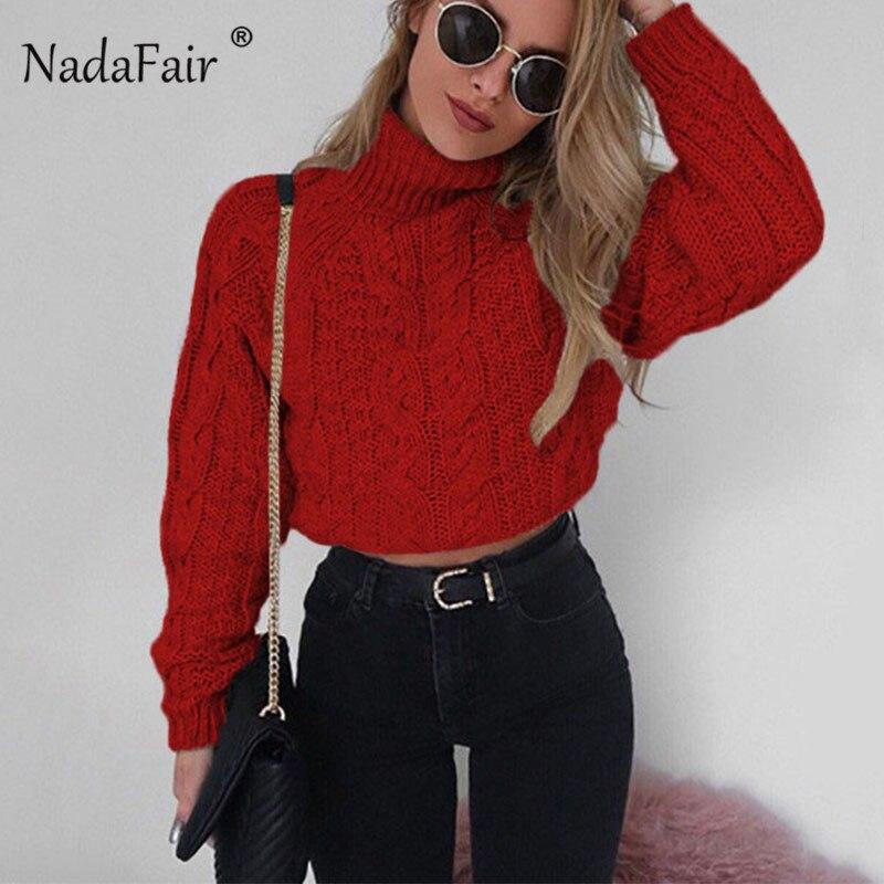 Nadafair Langarm Rollkragenpullover Kurze Herbst Pullover Pullover Winter Kleidung Frauen Dünne Twist Gestrickte Pullover Weiblich