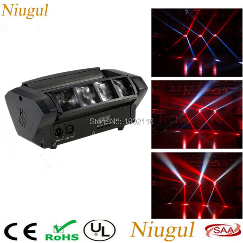 цена на Niugul LED Moving Head Light/Mini Led Spider Light 8x10W Led Beam/Dj Disco RGBW Dmx512 Effect Lighting/Christmas Holiday Lights