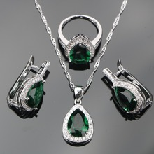925 Sterling Silver Bridal Jewelry Sets Green Stone CZ Clips Earrings For Women Necklace Pendants Rings Set Gifts Jewelry Box
