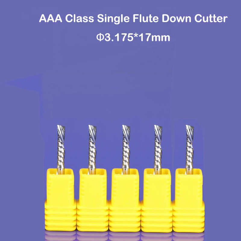 10pcs 3.175x17mm left handed down cutting cutter spiral single flute CNC router bits acrylic pcb Pvc Aluminun free shipping