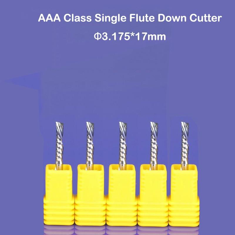 10ピース3.175x17mm左渡り切断カッタースパイラルシングルフルートCNCルータービットアクリルpcb pvcアルミン送料無料