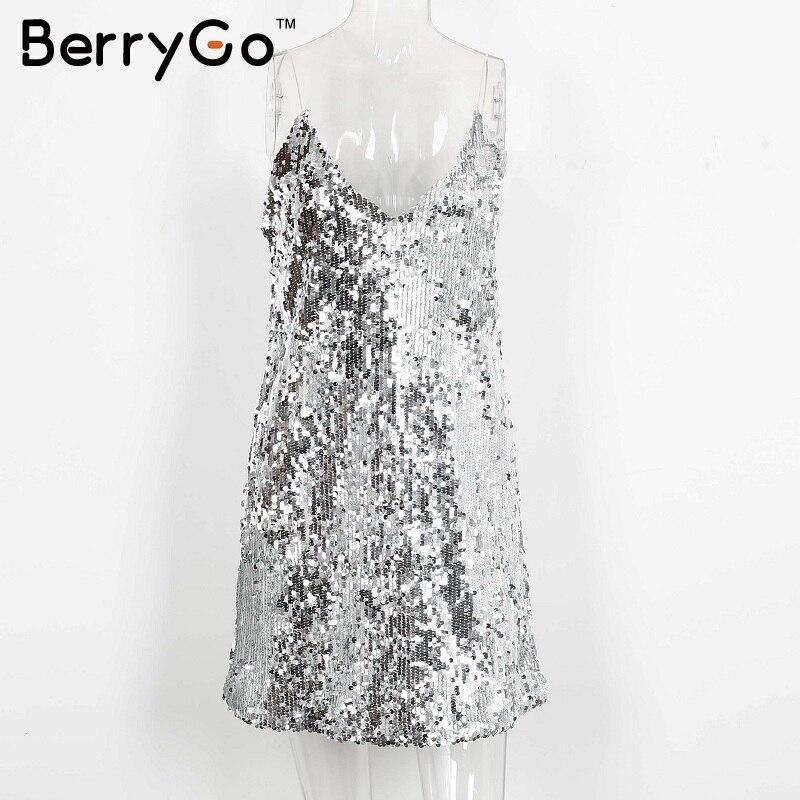 BerryGo Sexy silver sequin women dress Deep v neck sleeveless short dress Elegant evening party dresses casual summer vestidos 9