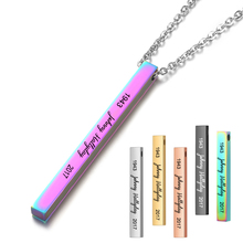French Johnny Hallyday Name Custom Personalized Vertical Bar Necklace Silver Engraved Date Pendant Gift SL-070