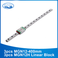 Mini MGN12 Linear Guide MGN12 L= 400mm linear motion rail + 3pcs MGN12H linear carriage for CNC X Y Z Axis