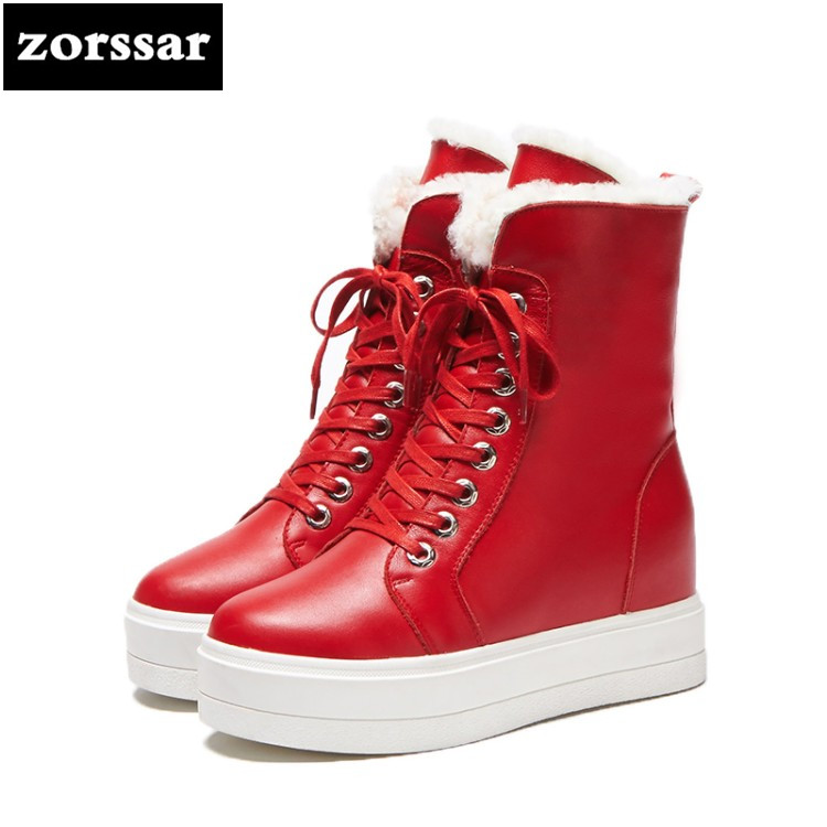 {Zorssar} Brands 2018 New Genuine Leather Warm Plush snow boots Women Ankle Boots High heel platform boots winter woman shoes zorssar 2017 new classic winter plush women boots suede ankle snow boots female warm fur women shoes wedges platform boots
