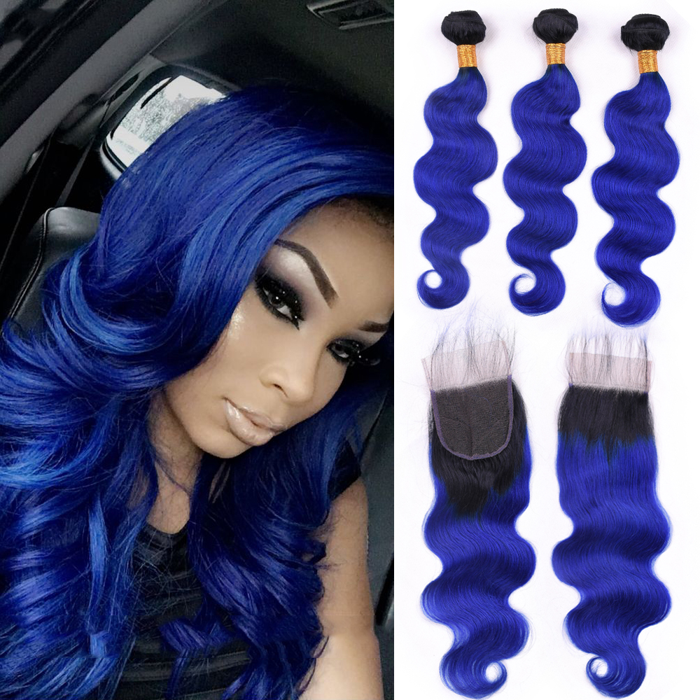 Blue Hair 3 Bundles With Closure One Pack Dark Roots Two Tone Ombre Brazilian Body Wave Human Hair Weft With Lace Closure