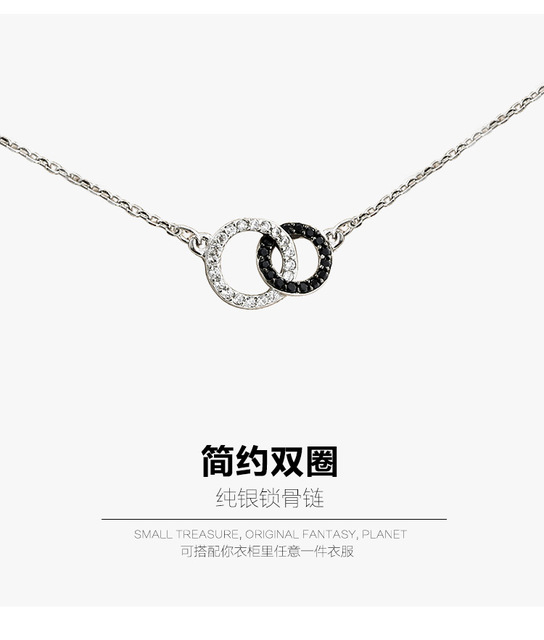 very refined and delicate Wedding jewelry circle shape silver 925 Silver rhinestone pendant wedding necklace silver