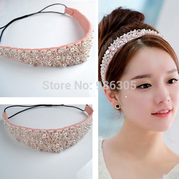 Luxury shiny Ladys Pearl Beads Crystal Headhand Elastic girs hairband Print Headbands Hair Accessories for women perla diadema ...