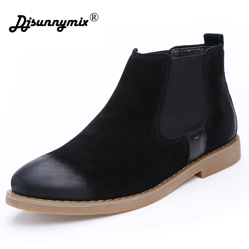 DJSUNNYMIX Brand Men Winter Warm Boots Casual Shoes Men Fashion Plush Snow Boots Ankle Boots Fur Genuine Leather Footwear