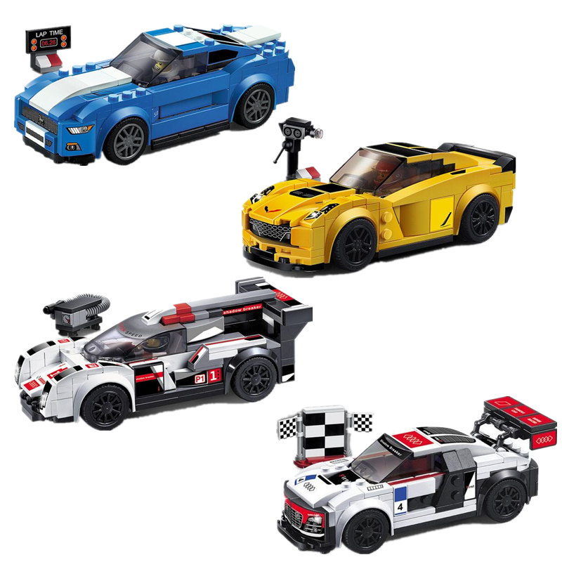 4 Style City Super Racers Series Speed Champions Legoingly Supercar Racing car Z06 R8 R18 Building Blocks Kids Gift 78111 78112