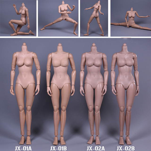 1/6 Scale Female Body Figure Super Flexible Asian Skin European Tan Color Large/Middle Breast Body With Extra Hands Feet
