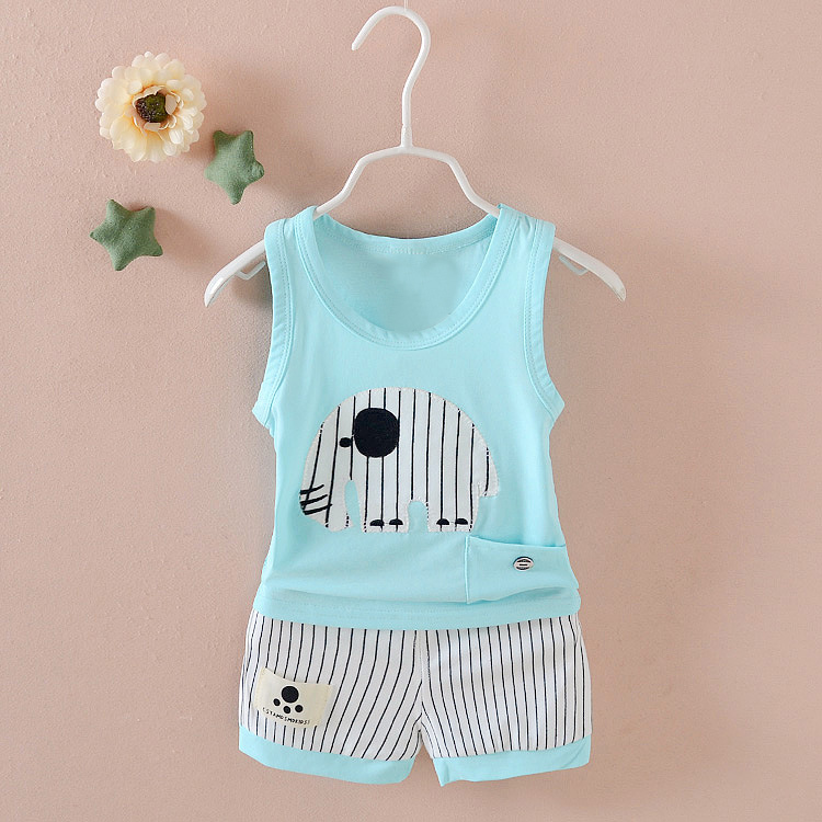 Summer Boy Vest Sleeveless Tops + Shorts Elephant Striped Clothes Set 0-3Y Baby Outfits 998