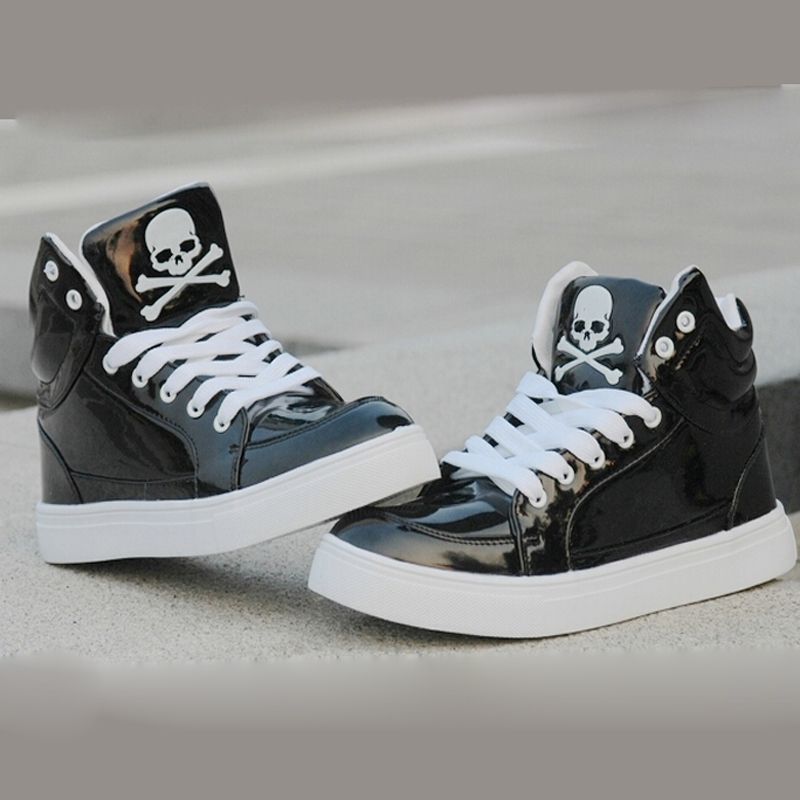 New 2015 Fashion Women Men High Top Skull Print Casual Hip