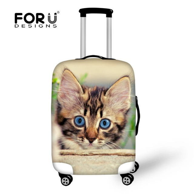 Durable Travel Luggage Accessories Cover Animal Cat Printed Suitcase Protective Cover for 18-30 Inch Elastic Cover Trunk Case
