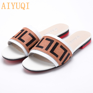 Image 4 - AIYUQI Women Slippers 2020 New summer Genuine Leather Flat Women slides  Mohair Casual Outdoor Slippers Women shoes