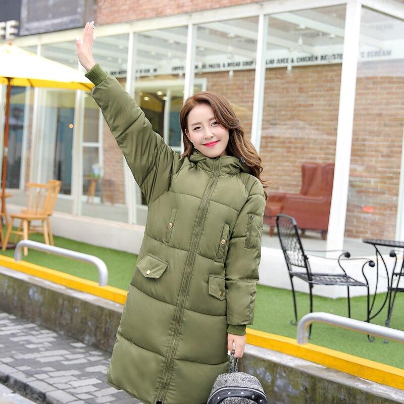 2016 kore yeni kış kadınlar aşağı ceket moda kalınlaşmak sıcak uzun aşağı ceket kapşonlu kadın kış parka ekmek aşağı giysileri ceket
