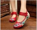 Низкая помощь Вышивка гибискус Моды старые Пекин Ткани Обувь, мэри Джейн Квартиры Обувь 4 Цвета Китайский Стиль Повседневная Обувь Женщина