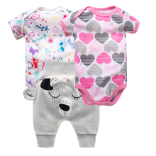 3PCS/LOT 6-12 MONTH Newborn Outfits 3 Pieces Clothing Set for Infant Baby Girl Cute Cartoon Unicorn Bodysuit+romper+pants Cotton