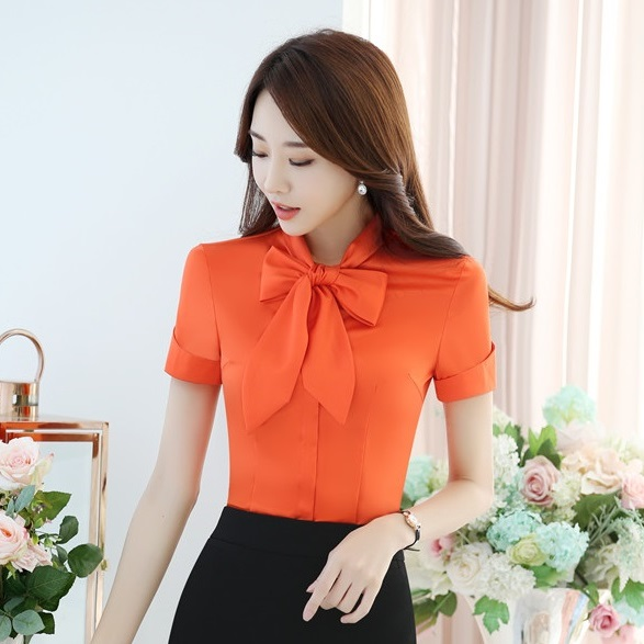 7fdd172c1c39 Summer Formal Office Ladies Orange Tops Women Short Sleeve Shirts Female OL  Style Free Shipping