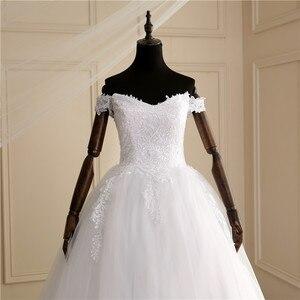 Image 5 - 2020 luksusowe koronki Boat Neck suknia suknie ślubne Sweetheart Sheer powrót księżniczka Illusion aplikacja suknie ślubne Casamento