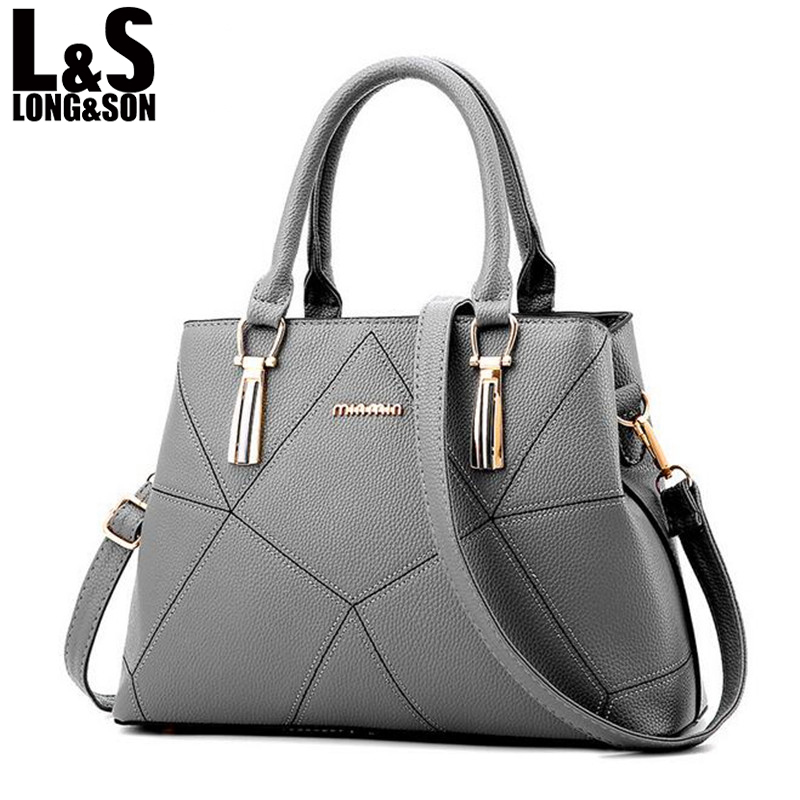6bb406d78 LONG SON Women's Leather Bags Handbags Women Famous Brands Women Bags High  Quality Tote Handbag Shoulder Bag For Ladies WB090-in Shoulder Bags from  Luggage ...