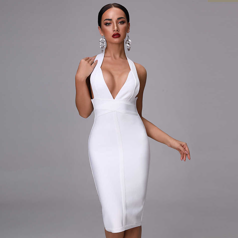 2019 новые полки летнее Бандажное платье сексуальное с открытой спиной v-образным вырезом белое Бандажное Платье женское плотное платье Бандажное вискозное